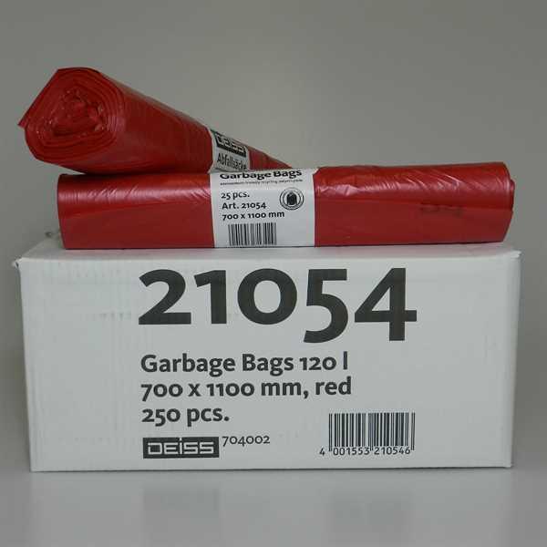 250 x LDPE Abfallsäcke, rot, 120 Liter, 10 Rollen a 25Stk