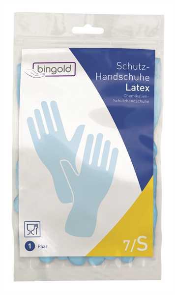BINGOLD Schutzhandschuh Latex, blau, 12 Paar/Pack