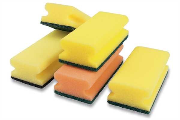Pad-Schwamm mit Griff, gelb-grün, 150/70/45