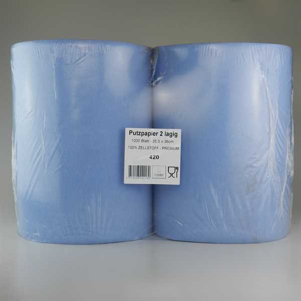 Putzpapier 2 lagig BLAU recycling 35,5x36cm