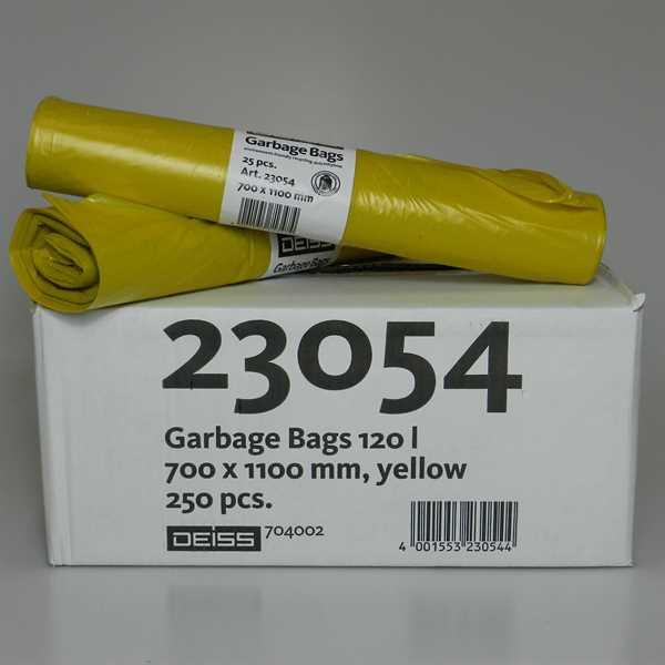 250 x LDPE Abfallsäcke, gelb, 120 Liter, 10 Rollen a 25Stk