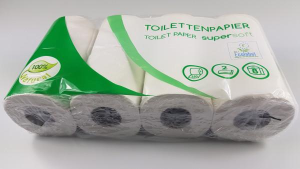 WC-Papier2-lagig, Tissue 8x8x250 BI