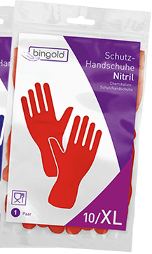 BINGOLD Schutzhandschuh Nitril, rot, 12 Paar/Pack