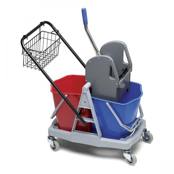 Doppelfahr-Reinigungswagen, rot/blau mit Mop-Presse