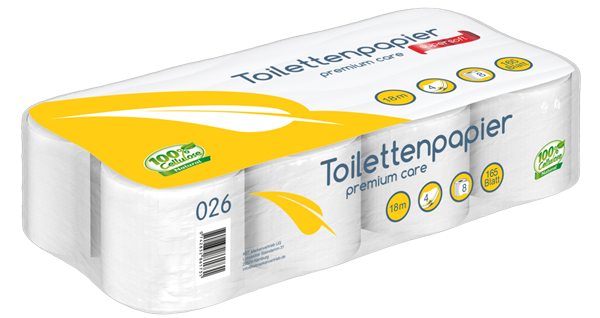 Toilettenpapier 4 lagig, Zellstoff, 165 Blatt/Rolle
