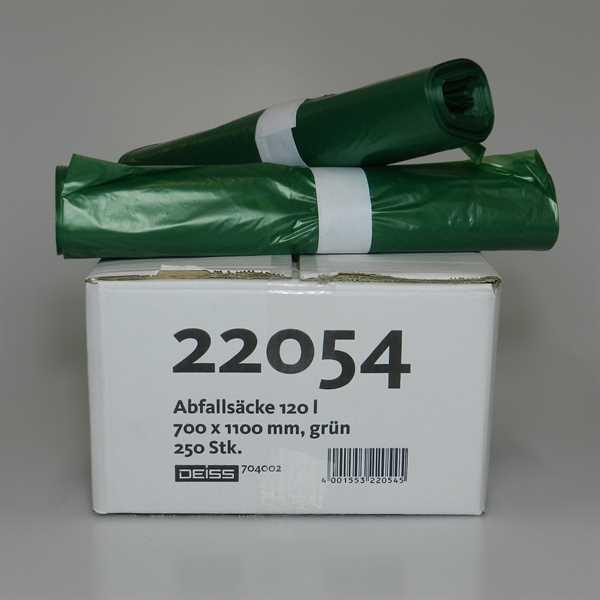 250 x LDPE Abfallsäcke, grün, 120 Liter, 10 Rollen a 25Stk